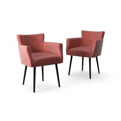 2er-Set Lehnstühle Billie Samt-Touch   Puderrosa