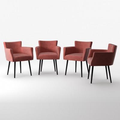 4er-Set Lehnstühle Billie Samt-Touch   Puderrosa