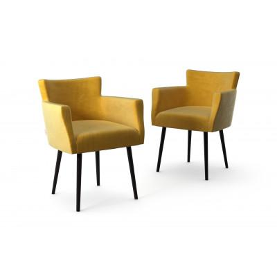 2er-Set Lehnstühle Billie Samt-Touch   Gelb