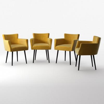 4er-Set Lehnstühle Billie Samt-Touch   Gelb