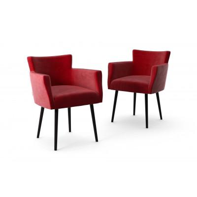 2er-Set Lehnstühle Billie Samt-Touch   Rot
