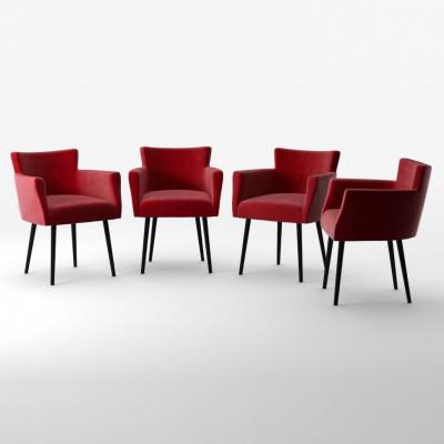 4er-Set Lehnstühle Billie Samt-Touch   Rot