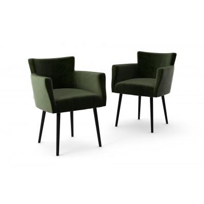 2er-Set Lehnstühle Billie Samt-Touch   Dunkelgrün