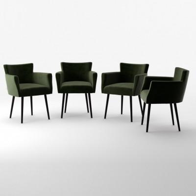 4er-Set Lehnstühle Billie Samt-Touch   Dunkelgrün