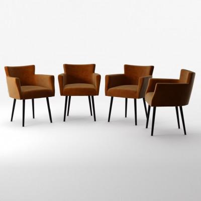 4er-Set Lehnstühle Billie Samt-Touch   Senf