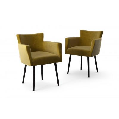 2er-Set Lehnstühle Billie Samt-Touch   Olivgrün