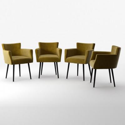 4er-Set Lehnstühle Billie Samt-Touch  Olivgrün