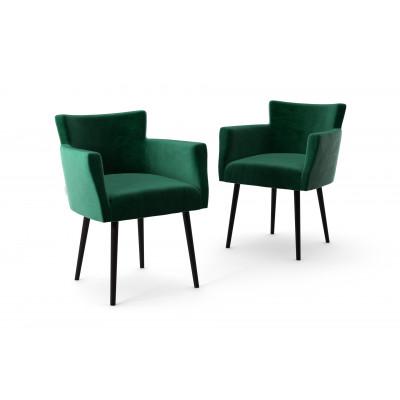 2er-Set Lehnstühle Billie Samt-Touch | Grün