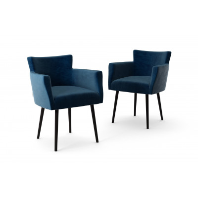 2er-Set Lehnstühle Billie Samt-Touch   Marineblau