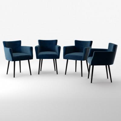 4er-Set Lehnstühle Billie Samt-Touch   Marineblau