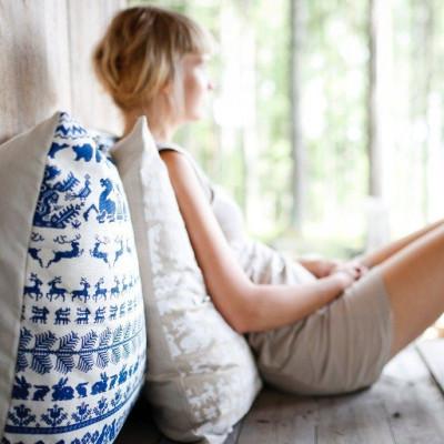 Pillow White/Blue