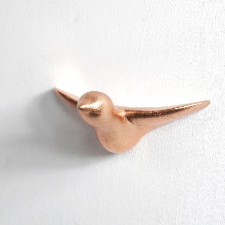 Wandhaken Vogel aus Keramik | Kupfer