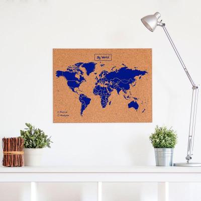 Woody World Map Cork | Blue