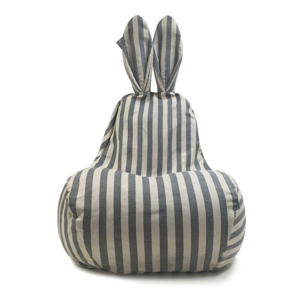 Großer Bohnensack | Graue Vintage-Streifen