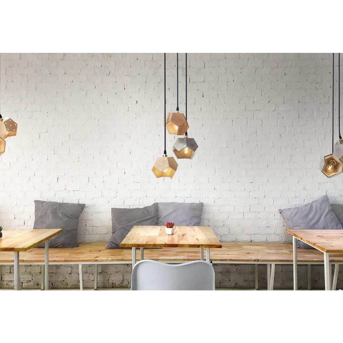 Ceiling Lamp Basic Twelve Trio | Concrete & Wood
