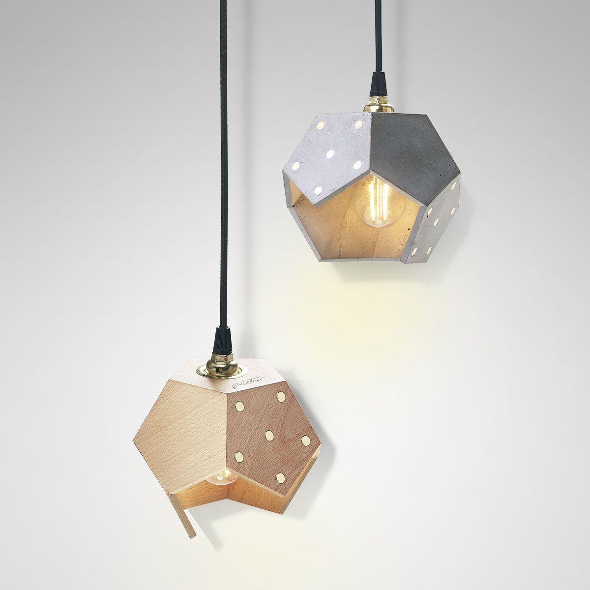 Ceiling Lamp Basic Twelve Duo | Concrete & Wood
