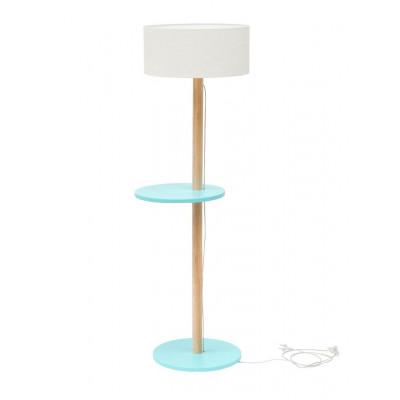 UFO Lamp | White Shade + Light Turquoise Shelves