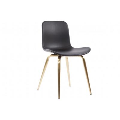 Langue Avantgarde Dining Chair Messing - Premium-Leder   Schwarz