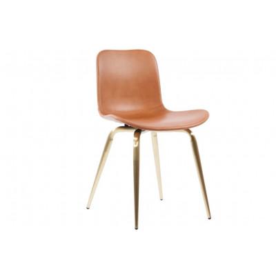 Langue Avantgarde Dining Chair Messing - Premium-Leder   Brandy