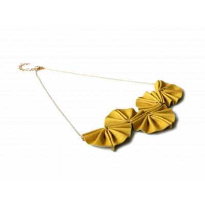 Laura Necklace Mustard Leather