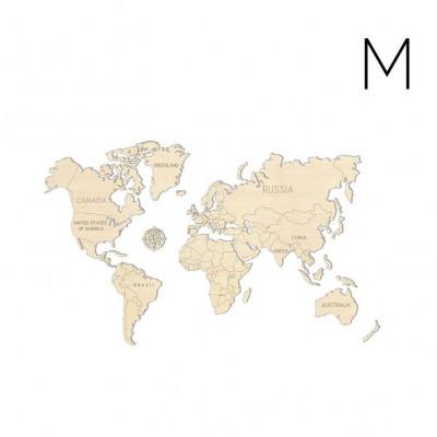 3D Puzzle Wood World Map | Medium