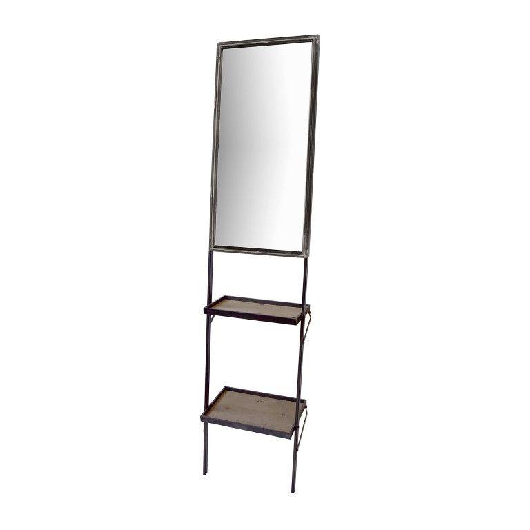 Mirror Shelf Ladder | Antique Black