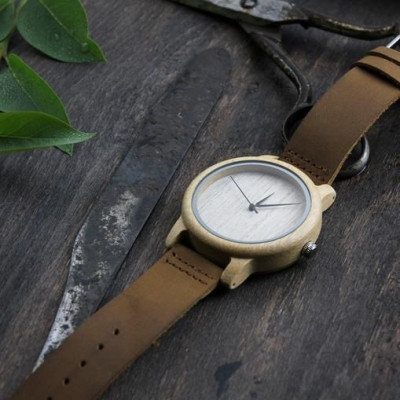 Wooden Watch | Thick Light Brown Leather