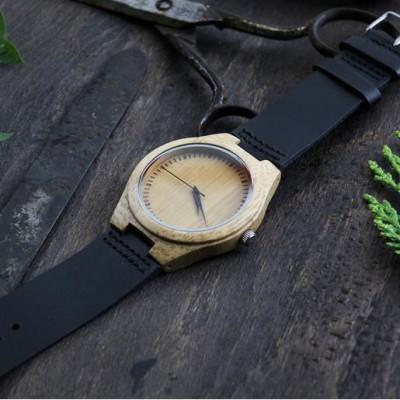 Wooden Watch | Black Leather + Light Brown Wood Sparkle Virgo