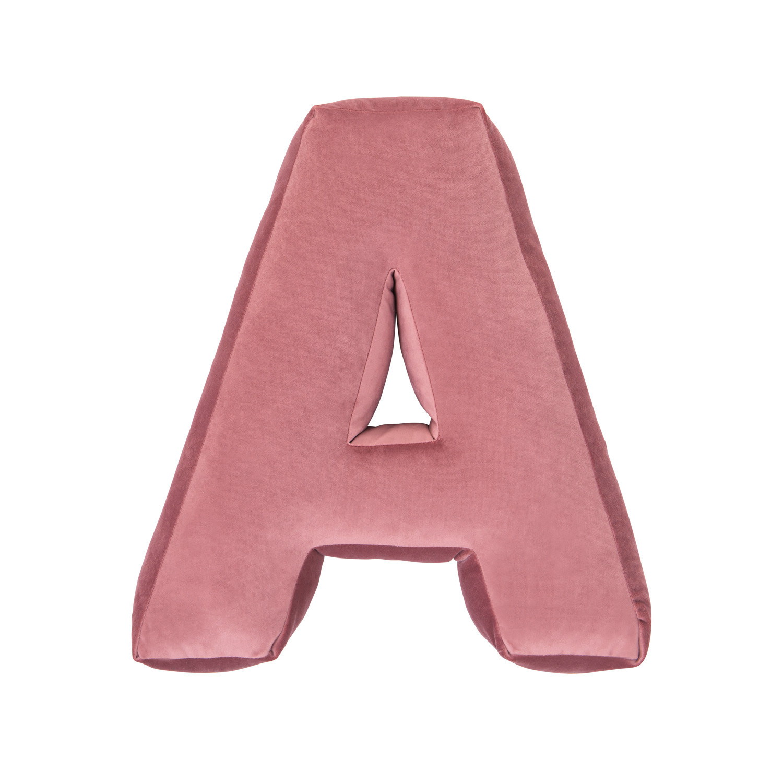 Buchstabenkissen Samt Pink | A