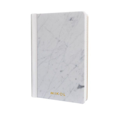 Leather Bounded Marble Notebook   Carrara White