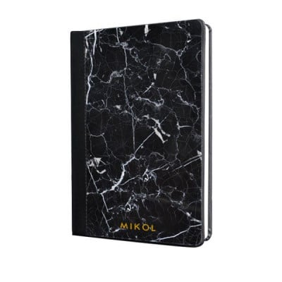 Leather Bounded Marble Notebook   Nero Marquina