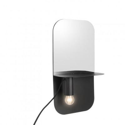 Wandlampe Plate mit Spiegel | Schwarz