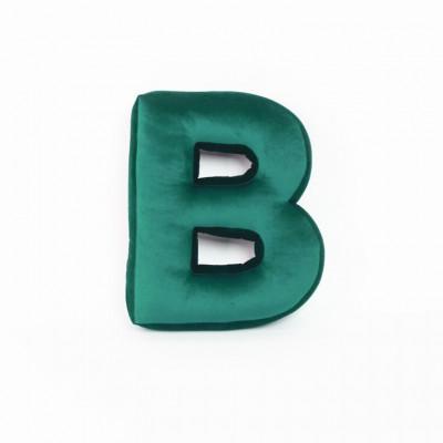 Buchstabenkissen Samt Grün   B