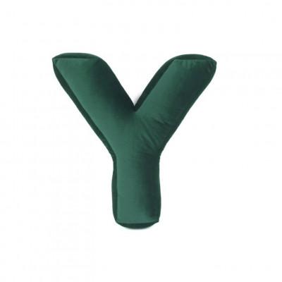 Buchstabenkissen Samt Grün   Y