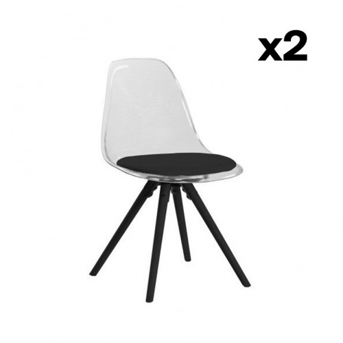 Set of 2 Chairs Leon | Black