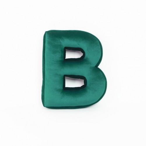 Cushion Letter Velvet Green | B