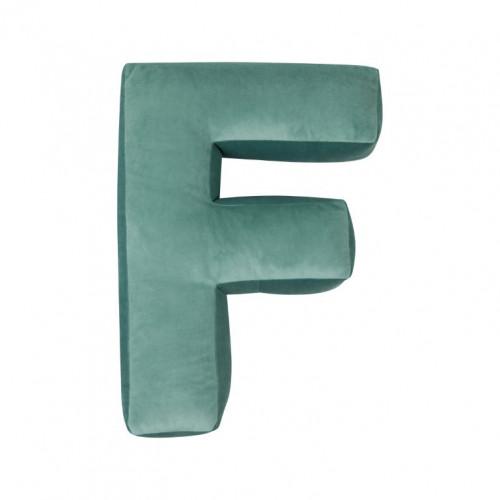 Kussen Letter Velvet Munt | F