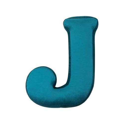 Cushion Letter Velvet Emerald | J