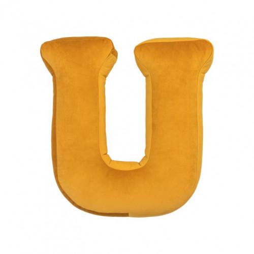 Buchstabenkissen Samtgelb | U