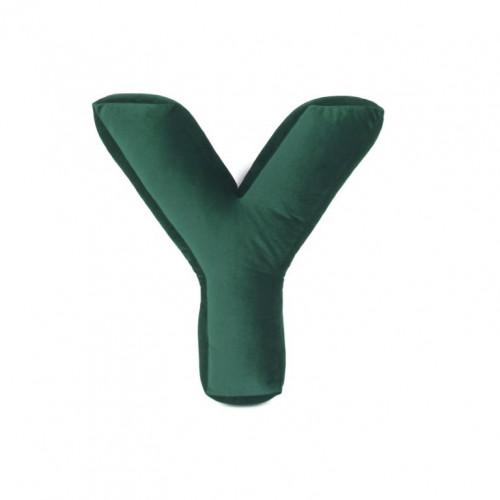 Buchstabenkissen Samt Grün | Y