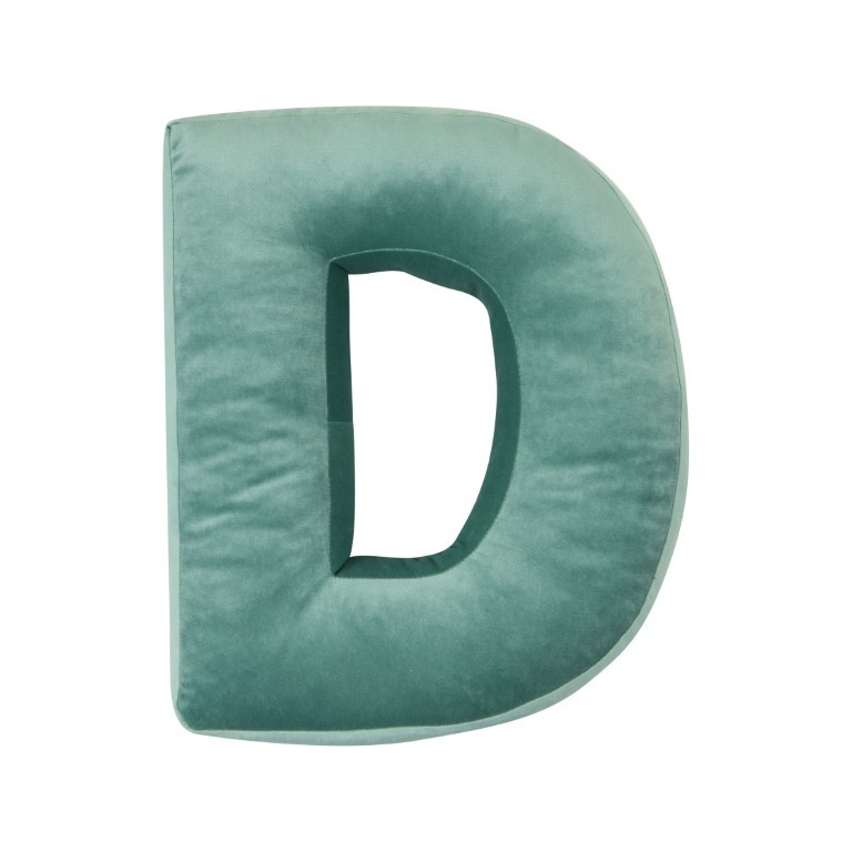 Buchstabenkissen Velvet Mint | D