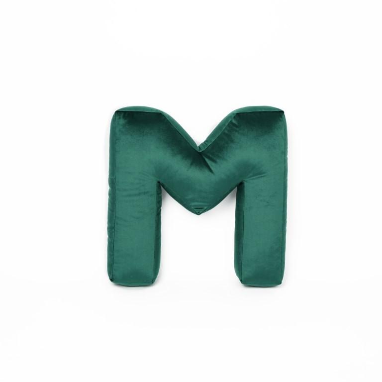 Buchstabenkissen Samt Grün | M