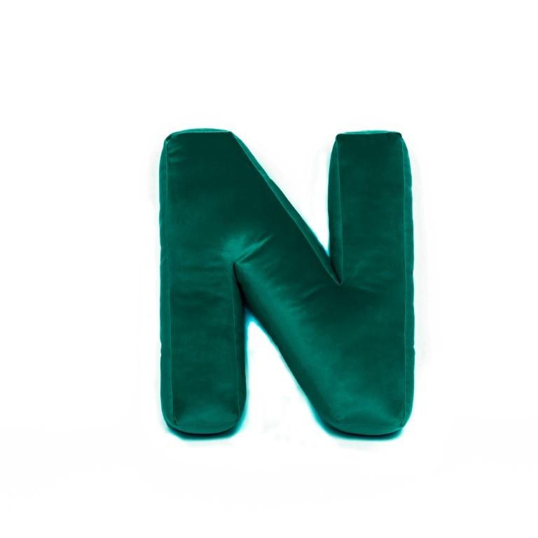 Buchstabenkissen Samt Grün | N