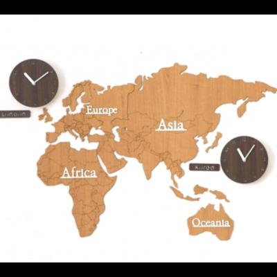 Worldmap & Wall Clock Set   Light Brown & Brown