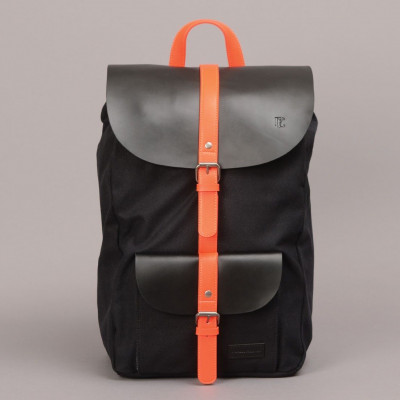 Lincoln Backpack   Black & Orange
