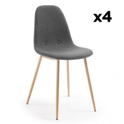 4er Set Stühle Lissy | Dunkelgrau & Helles Holz