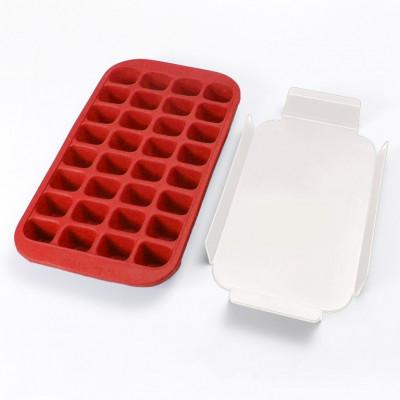 Eiswürfelform für 32 Eiswürfel + Tablett   Rot