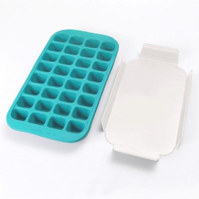 Eiswürfelform für 32 Eiswürfel + Tablett   Blau
