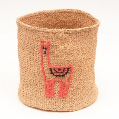 Embroidered Storage Basket   Llama