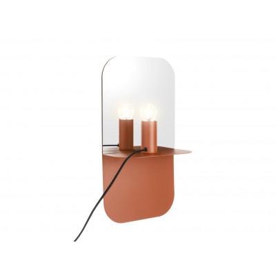 Wandlampenplatte mit Spiegel | Braun